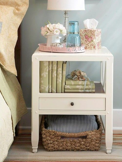 small bedroom storage ideas - simply use a basket