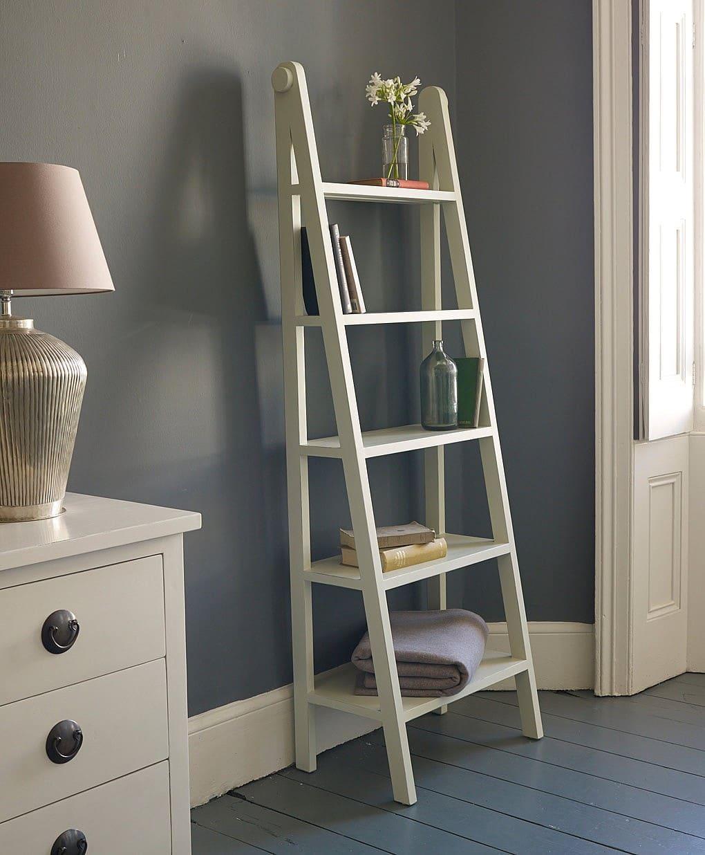 Use a ladder as a shelf.