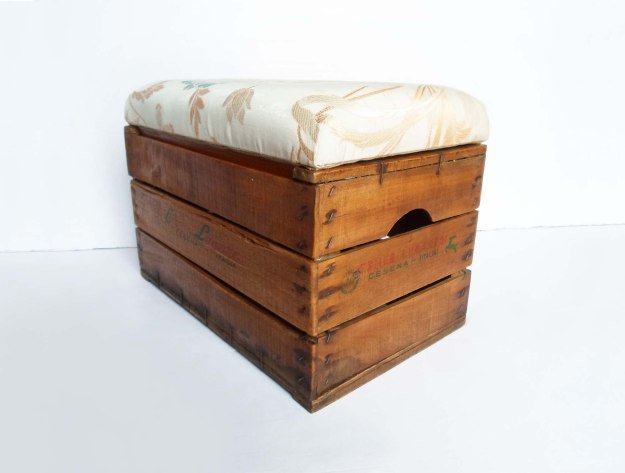 turn your wooden crate into a storage ottoman.