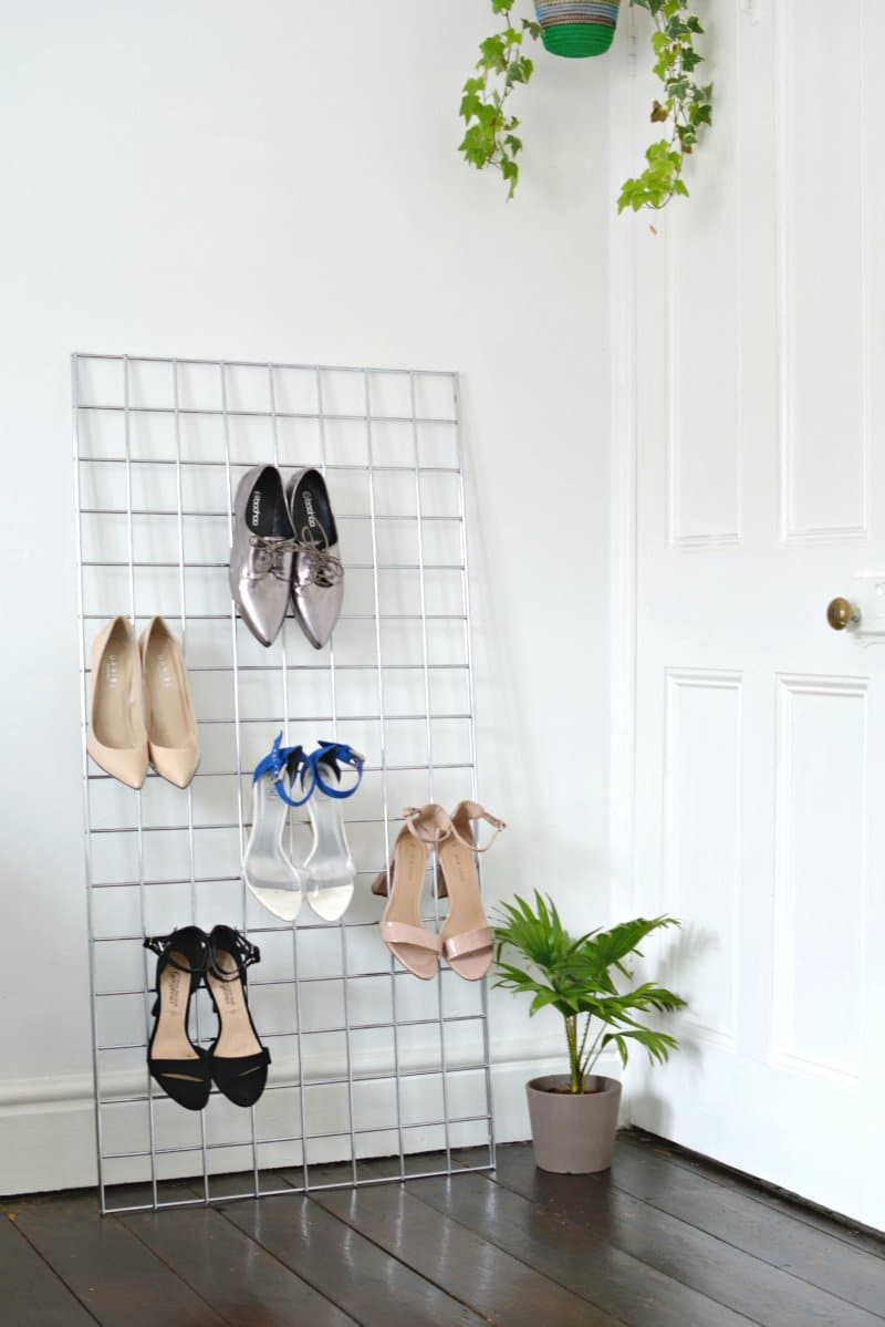 Use a grid to keep your shoes in one place