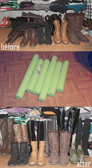 closet organization with dollar store items - foam floaters for boots