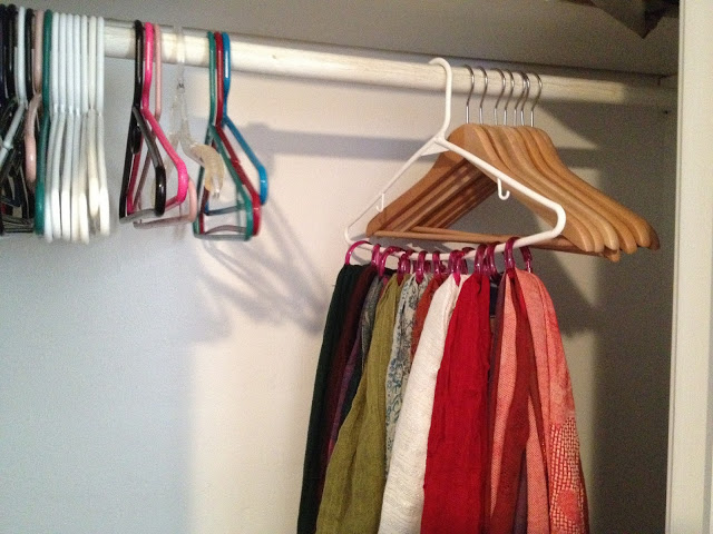closet organization with dollar store items - shower rings for scarves