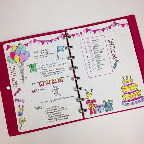 Bullet journal page ideas - Birthday party checklist