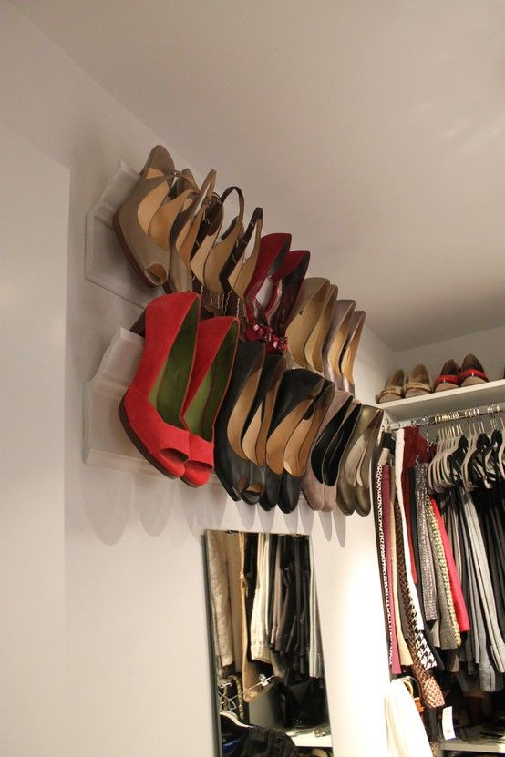 shoe storage for small spaces - using the walls