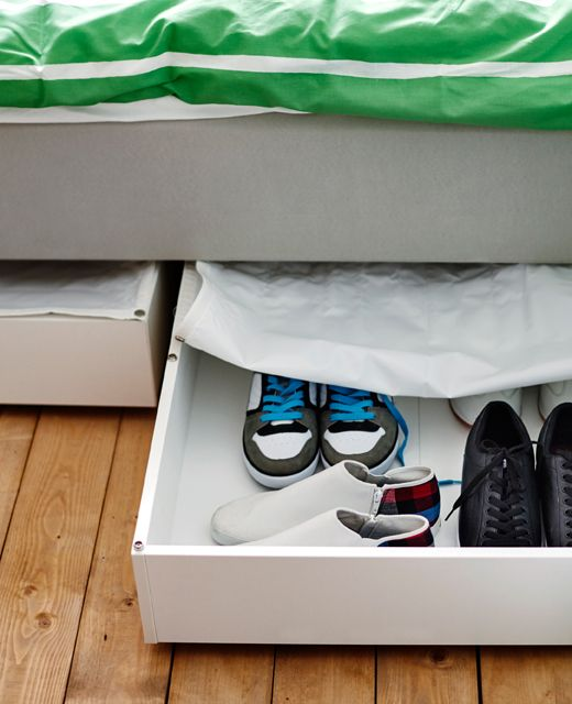 using under the bed space for shoe storage