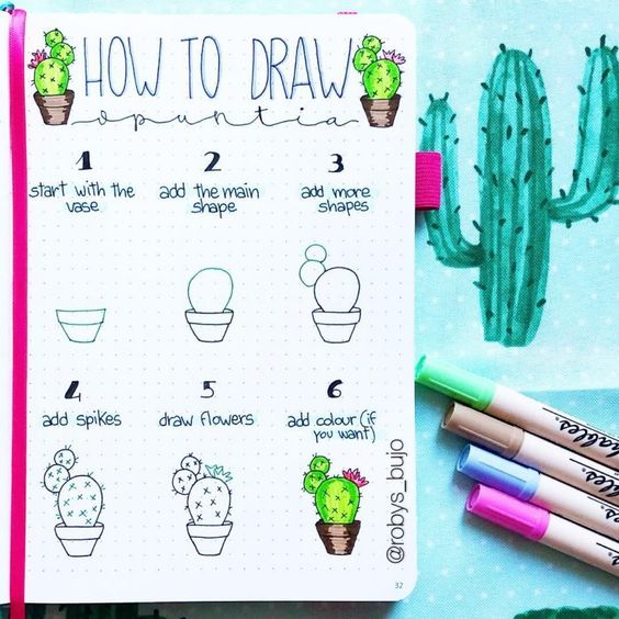 bullet journal doodles - cactus2
