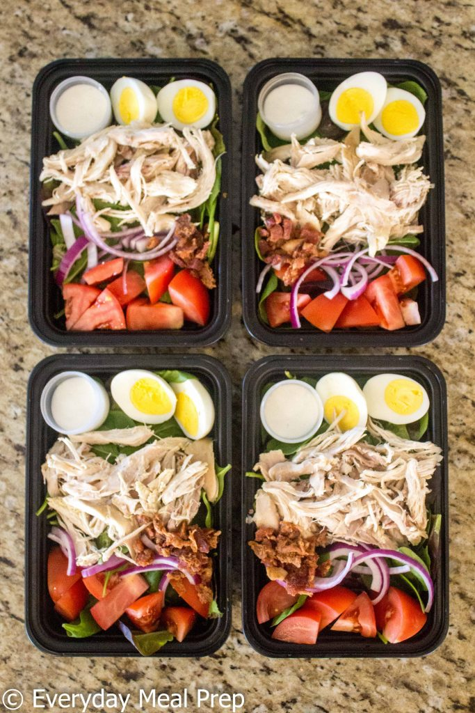 healthy meal prep - chicken cobb salad