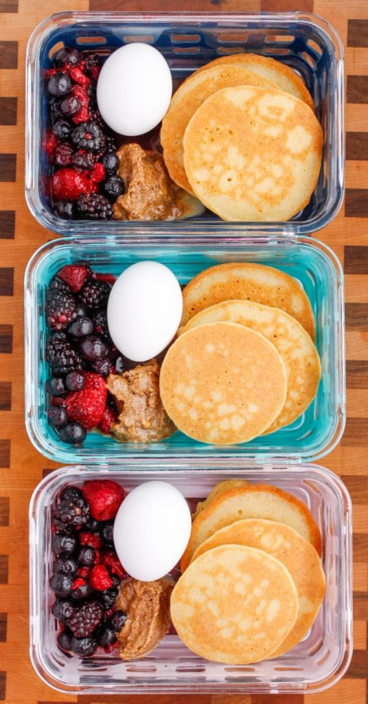 Healthy meal prep - paleo pancake breakfast