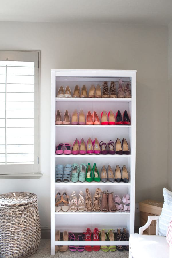 Organize shoes in a traditional shelf
