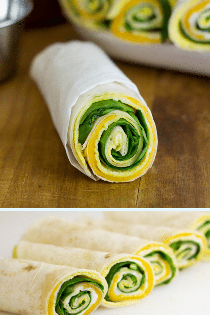 healthy breakfast - egg, spinach and cheese roll up