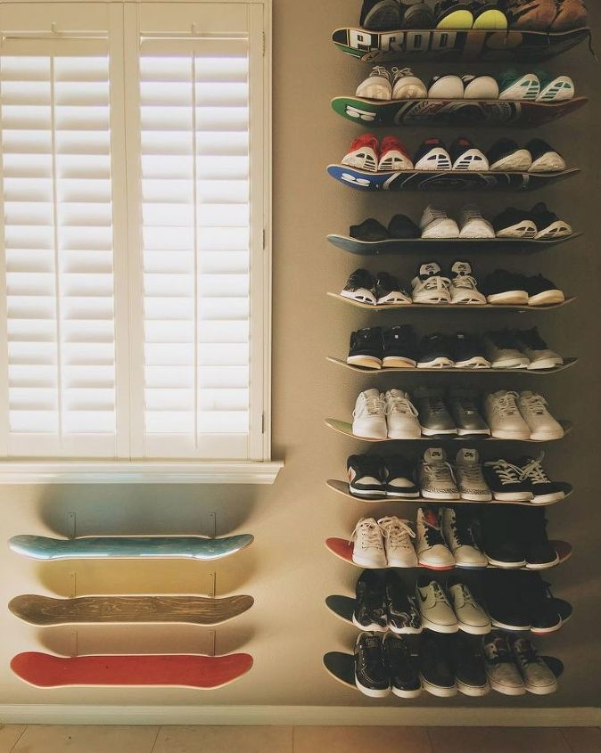Organize shoes in skateboards on the wall