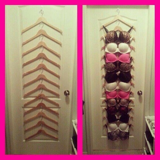 small bedroom storage ideas - Use a set of hangers to organize your bra