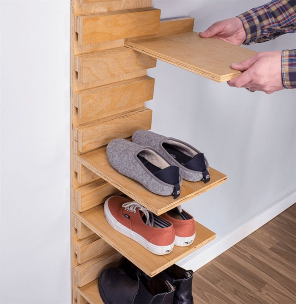 shoe storage ideas for small spaces - using shelves