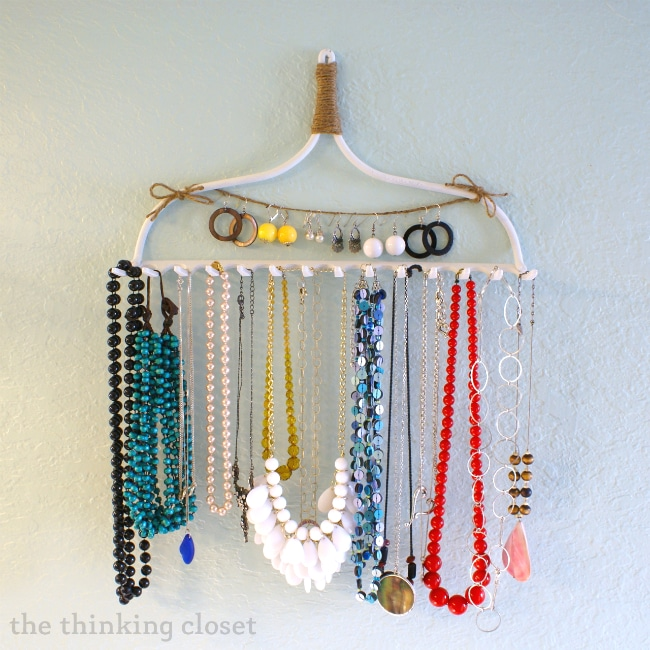 organize closet - rake as a jewelry organizer