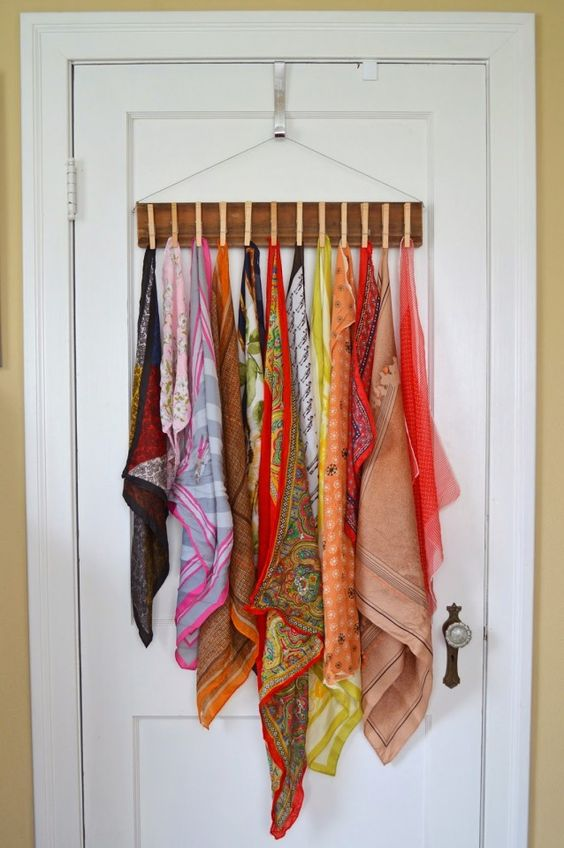 organize closet - clothespin for scarves