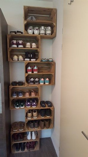 using crates to store shoes