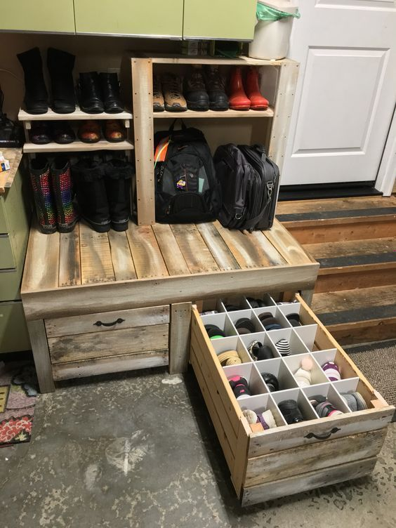 Organize shoes - using pallets as drawers
