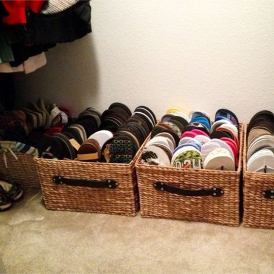 shoe storage for small spaces - baskets