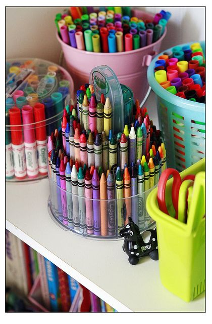 organize craft room - crayons sorted