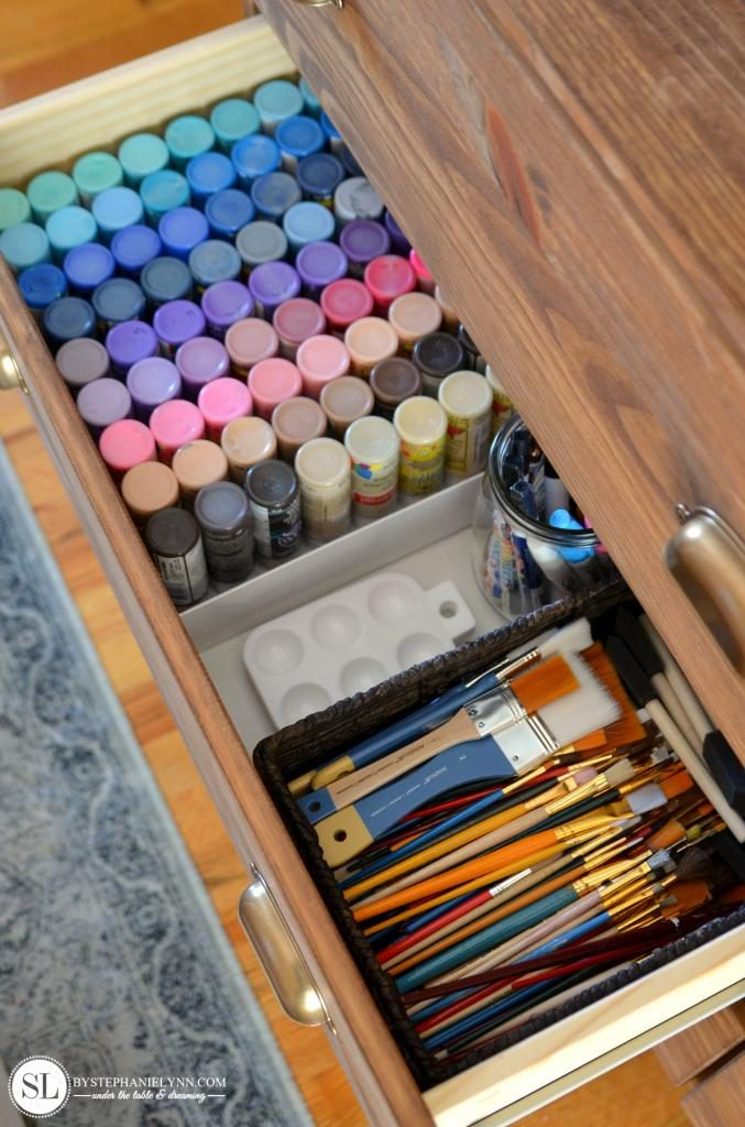 organize craft room - paints, palette, and brushes in dresser drawer