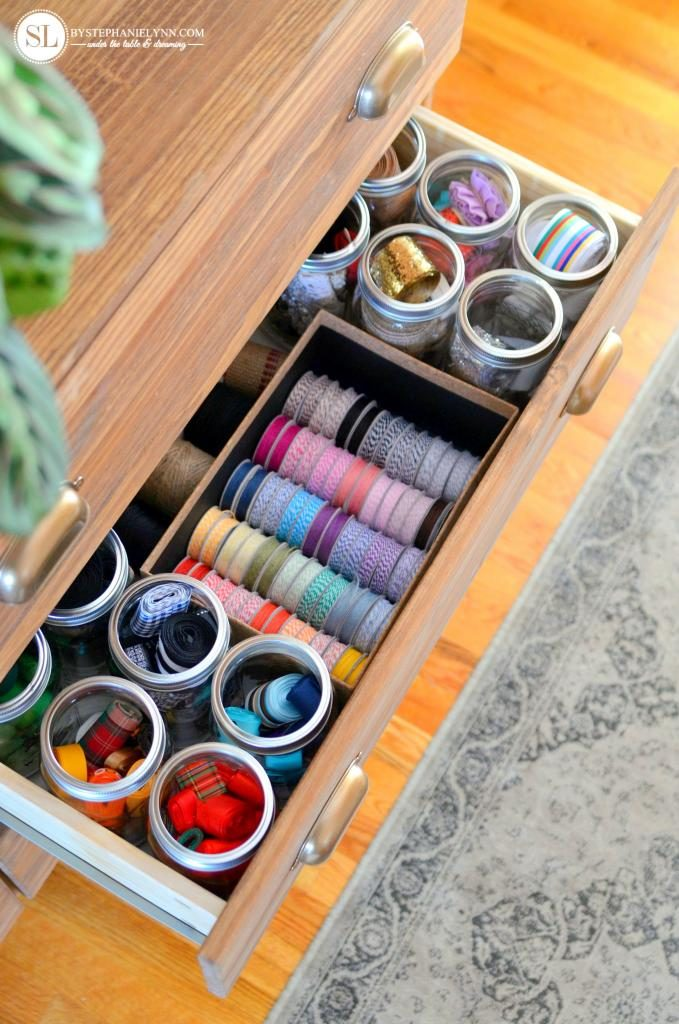 organize craft room - ribbons in dresser drawer