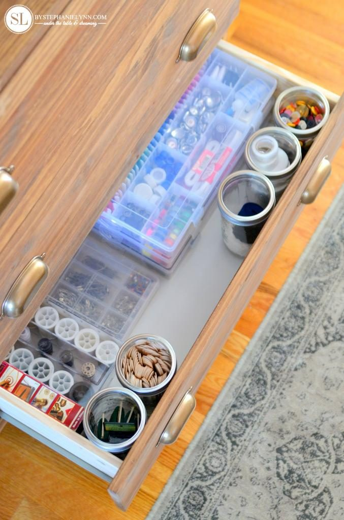 organize craft room - sewing materials in dresser drawer