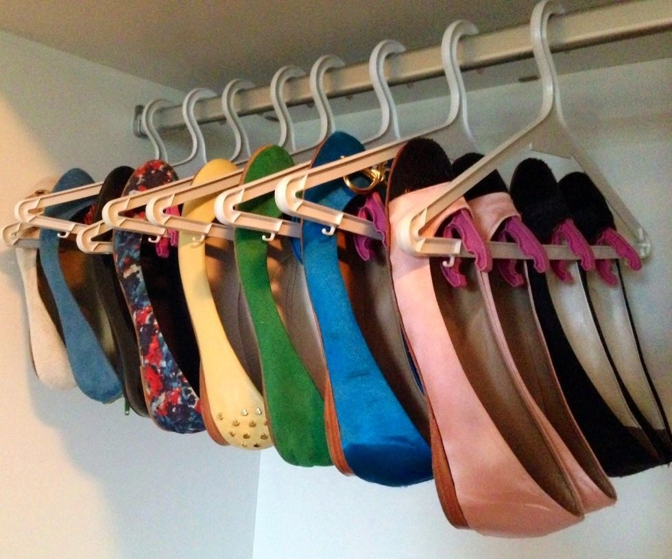 shoes storage for small spaces - using plastic hangers