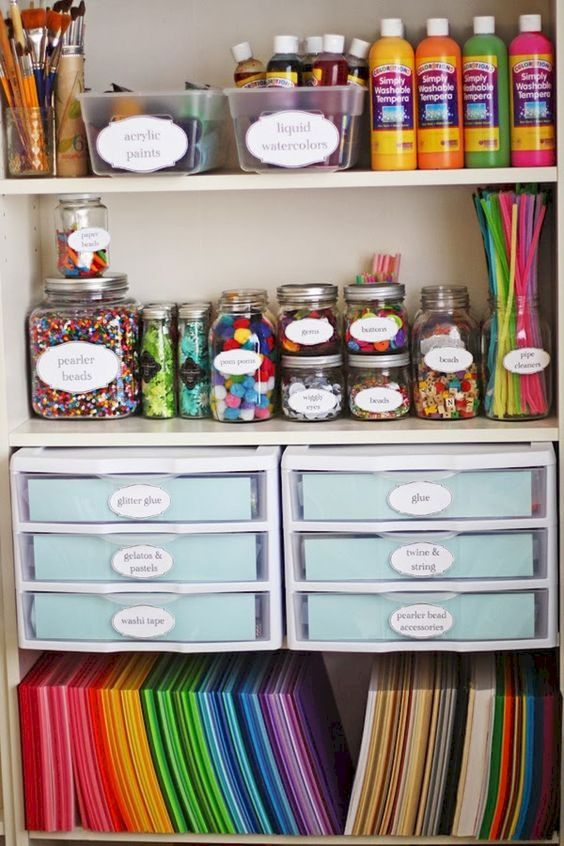 organize craft room - different sizes of glass jars