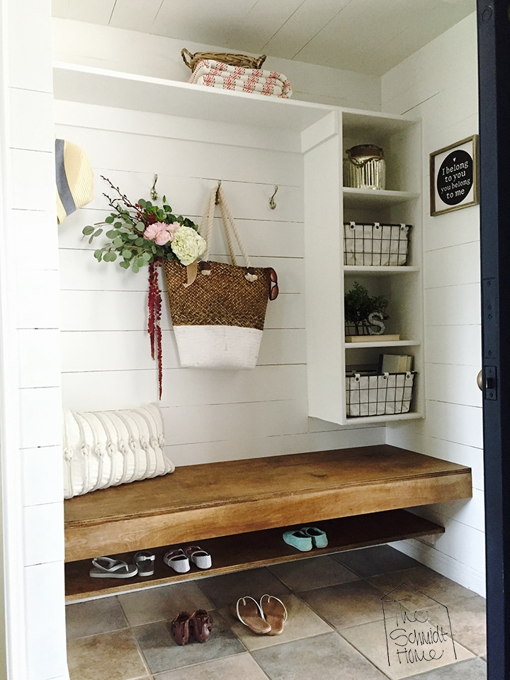Organize shoes - open shelf in the mudroom