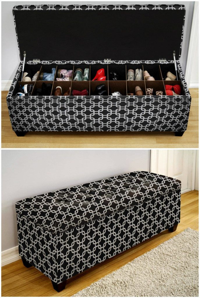 ottoman for shoes rectangular shape