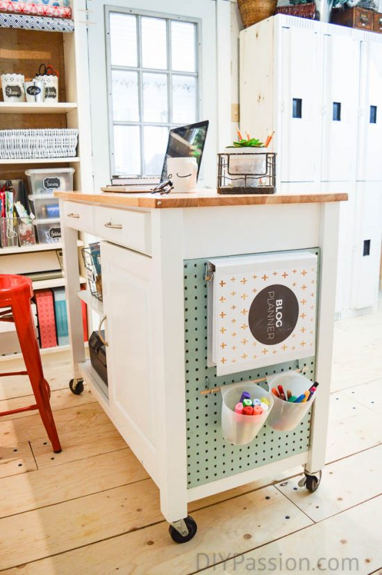 organize craft room - kitchen island as crafts organizer
