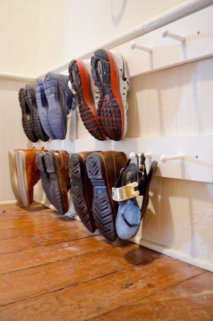 shoe storage for small spaces - peg board for shoes