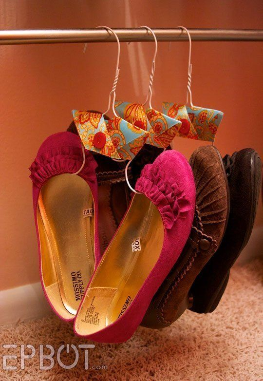 shoes storage for small spaces - using wire hangers