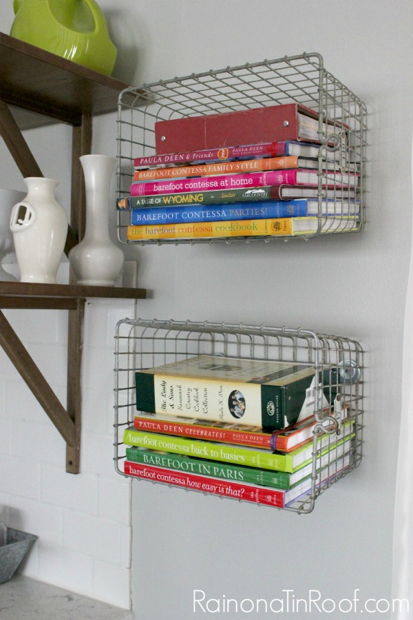 wire baskets for storage - organizing books