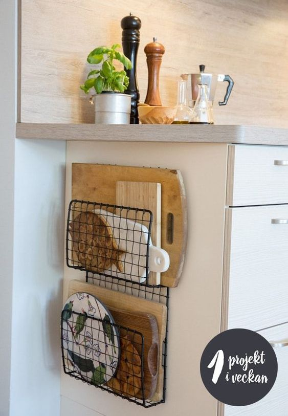 wire baskets for storage - chopping board holders