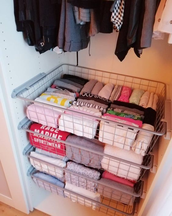 wire baskets for storage - organize clothes in bedroom closet