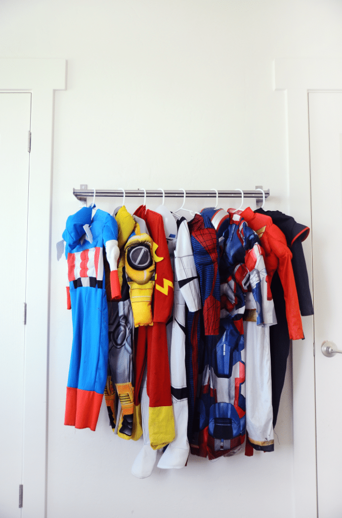 toy storage - dress up towel rail