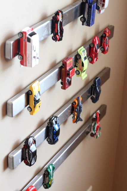 toy storage - magnetic knife bars for toy cars