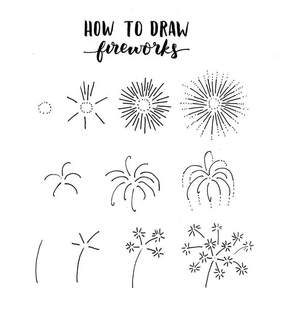 bullet journal doodles - fireworks