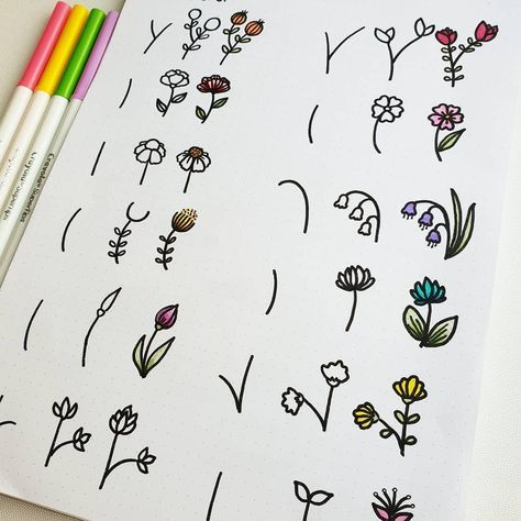 bullet journal doodles - different flowers