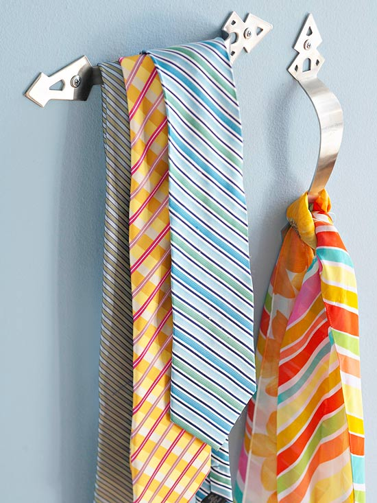 closet organization with dollar store items - handles for ties and scarves