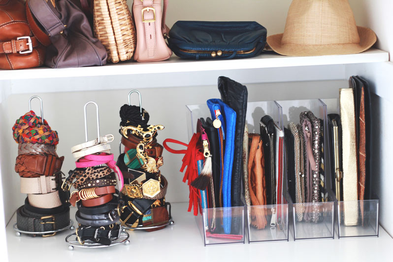 closet organization with dollar store items - paper towel holders for belts