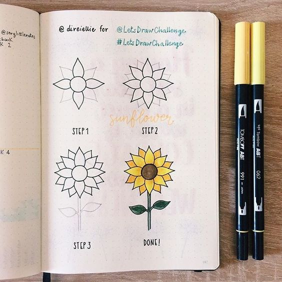 bullet journal doodles - sunflower