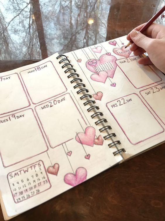 block layout weekly spread - romantic hearts