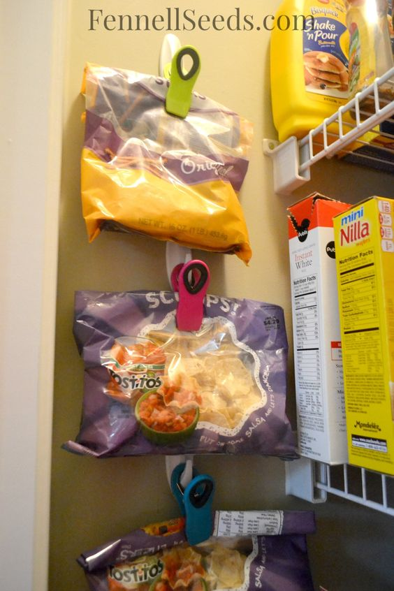 hang the chips to free shelf space in the pantry
