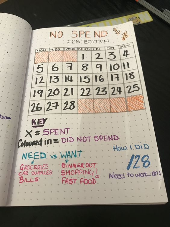 no spend financial tracker