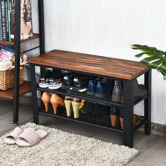bench for shoes storage - open shelves