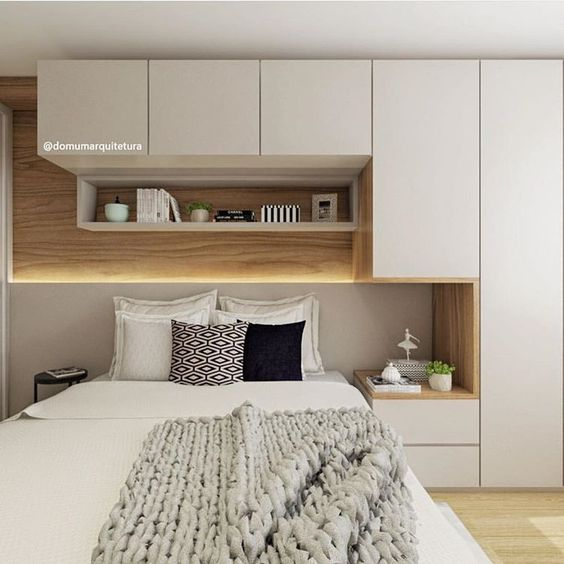 small shelving above the bed