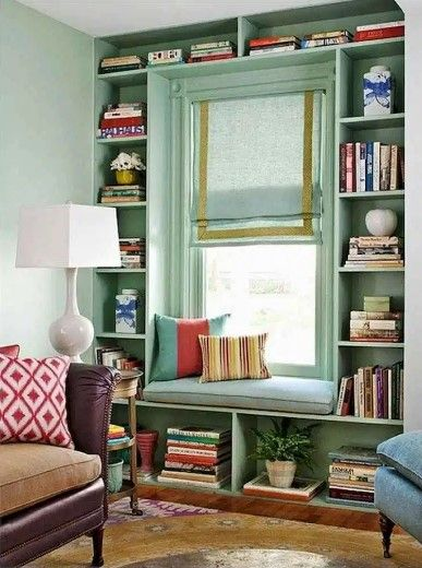bedroom shelves by the window