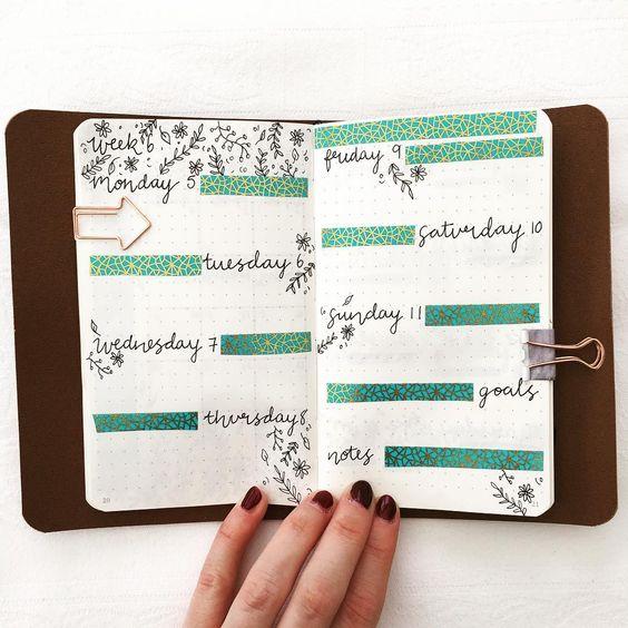 weekly layouts using washi tape